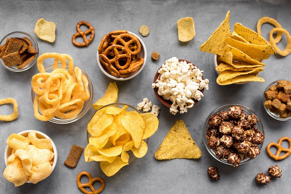 Snacks in types with salt